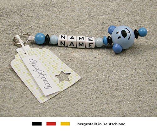 Naamhanger - hanger met naam - baby kinderen sleutelhanger voor luiertas, kleuterschooltas, schooltas of rugzak met sleutelring - jongens motief beer in blauw
