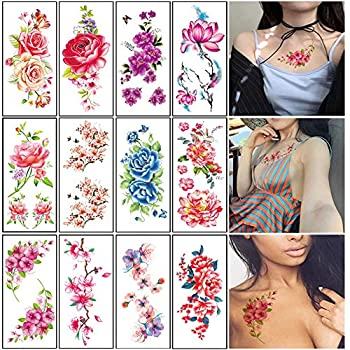 Flower Temporary Tattoos for Women Adults Color Rose Floral Body Tattoo Stickers Large Sexy Realistic Fake Tattoo Waterproof Arm Leg Chest Back Temp Tattoo Paper 12 Sheets