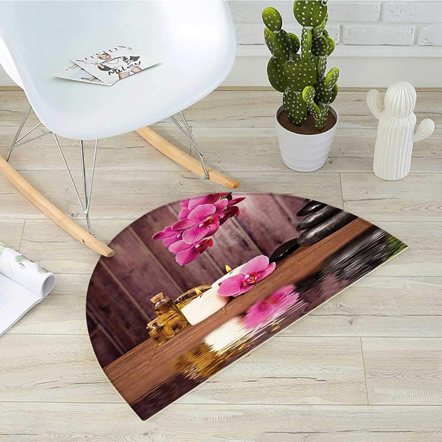 Spa Half Round Door mats Spa Flower and Water Reflection Aromatherapy Bamboo Blossom Candlelight Print Bathroom Mat H 39.3  xD 59  Pink Green Umber