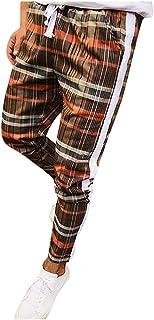JJHAEVDY Mens Slim Fit Stretch Plaid Skinny Dress Pants Comfort Jogger Casual Drawstring Sweatpants Harem Pants