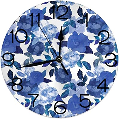 Wohenhao Horloge Murale Ronde d/écorative pour la Maison Fond de Peinture Aquarelle Rose avec des gribouillis dessin/és /à la Main Blancs et des Motifs pour Le Salon Chambre /à Coucher