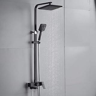 comprar comparacion AuraLum Set de ducha negro grifo monomando de ducha Sistema de ducha de 3 funciones con grifo de ducha cabezales de ducha ...