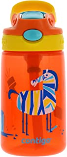 Contigo AUTOSPOUT Kids Gizmo Flip Water Bottle, 14oz Coral Orange Zebra Graphic – Leak & Spill Proof Bottles for Home or Travel – Easy-Clean, Dishwasher Safe – Press Button For Pop Up Straw