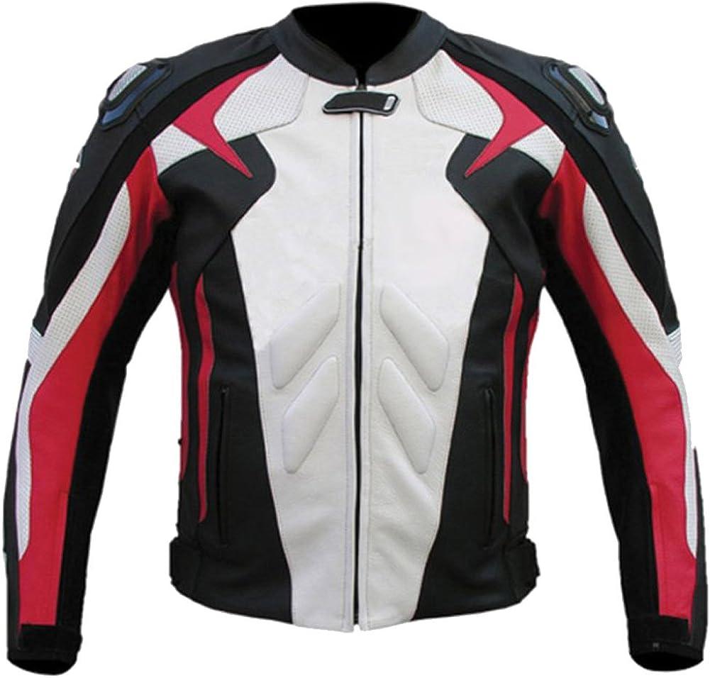 SleekHides Men's Genuine Leather Red n White Motorbike Jacket