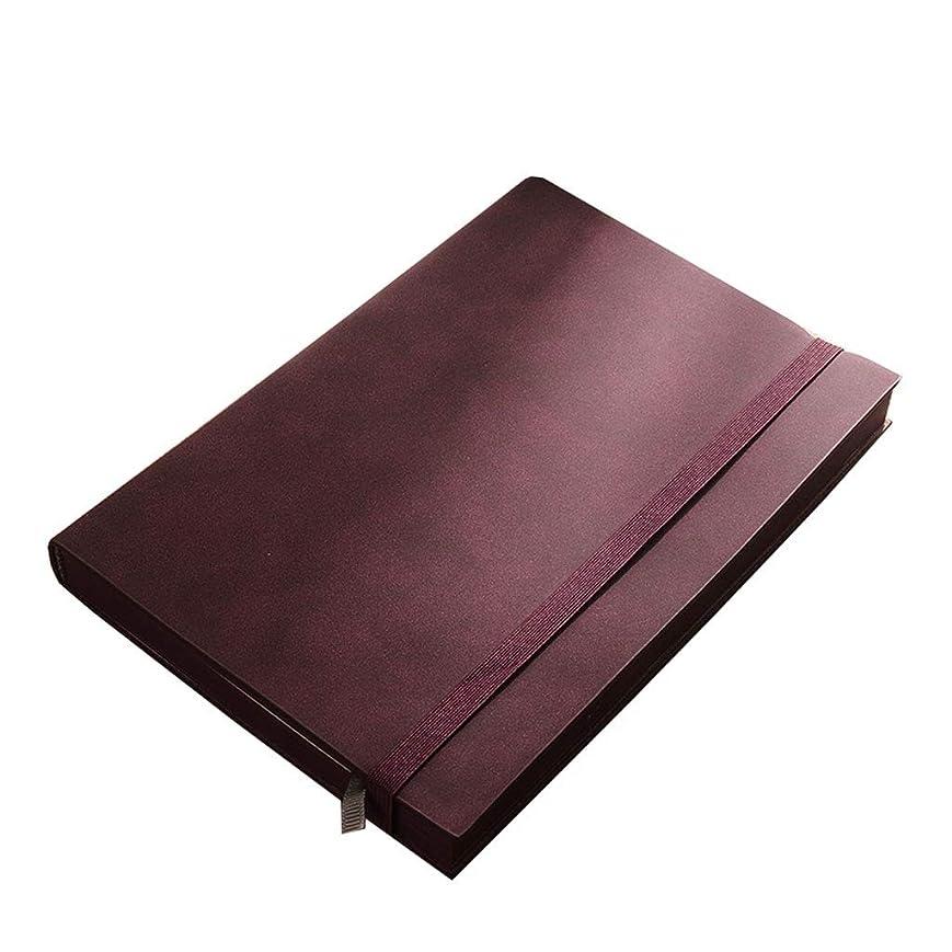 ノートを厚くする レトロノートソフトレザービジネス会議作業記録帳メモ帳肥厚 (Color : Purple, サイズ : 14.7*22.2cm)