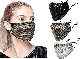 Maschera 3Pcs di Modo di Colore Paillettes, con l'orecchio Regolabile Loops, Mascherina di Travestimento per Le Donne, la ...