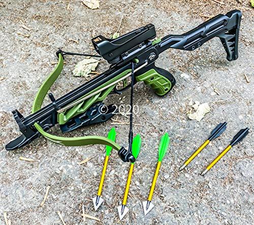 Isaazon 80lbs Self Cocking Pistol Hunting Crossbow Red Dot Scope Broad Head Arrows Green