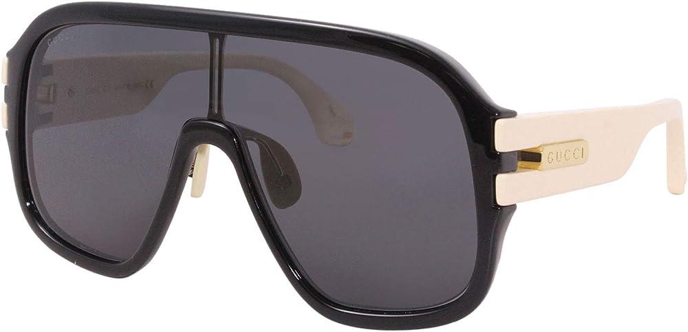 Gucci, occhiali da sole per uomo, montatura : acetato, colore avana scuro e nero lucido GG-0663-S 001