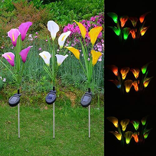 Solarleuchte Garten, Venkaite 3 Stück LED Solar Garten Licht Callalilie Blume Solarlicht mit Farbwechsel Außen Solar Stecker Lichter Solarlampe für Gehweg Terrasse Rasen Hof, Lila Gelb Weiß