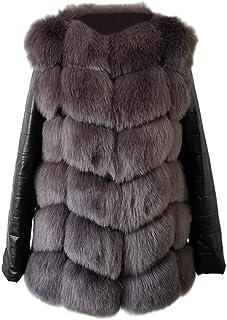 Fur Fashion Winter Women Imitation Fox Fur Coat PU Leather Long Sleeve Jacket for Women(Silver Grey,L)