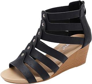 ESAILQ -Sandalias para Mujer, Zapatos de Tacón Medio Mujer, Playa Zapatos de Verano, Zapatos de Boca de Pescado, Sandalias de Punta Abierta, Negro Caqui