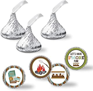"""S'More Fun With Friends S'Mores Themed Birthday Party Kiss Sticker Labels, 300 Party Circle Sticker sized 0.75"""" for Chocolate Drop Kisses by AmandaCreation, Great for Party Favors, Envelope Seals & Goodie Bags"""