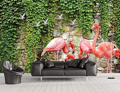 Papel Pintado Pared 3D Pared De Ladrillo Verde Vid Flamingo Fotomurales Decorativos Pared Decoración Mural Pared