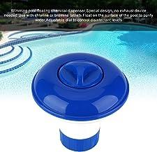 Dispositivo de dosificación flotante, dispensador químico con tabletas de bromo de plástico para desinfección de piscina Dispositivo de dosificación automática (azul + blanco)