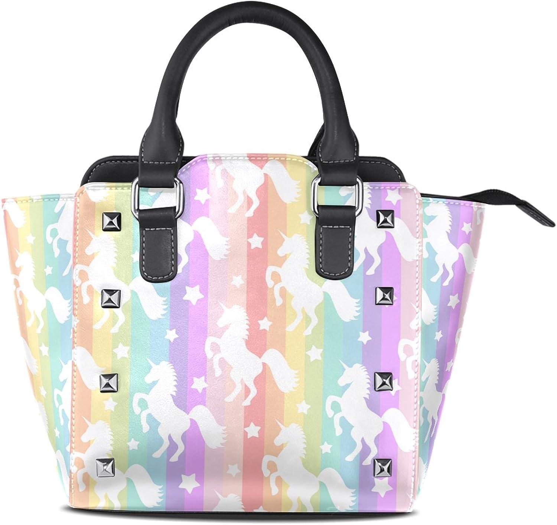 My Little Nest Women's Top Handle Satchel Handbag Cute Unicorns Rainbow Ladies PU Leather Shoulder Bag Crossbody Bag