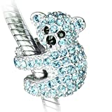 Koalabär Charm - Sterling Silber S925 Aqua Zirkonia Charm für Damen Pandora Armband in einer Geschenkbox