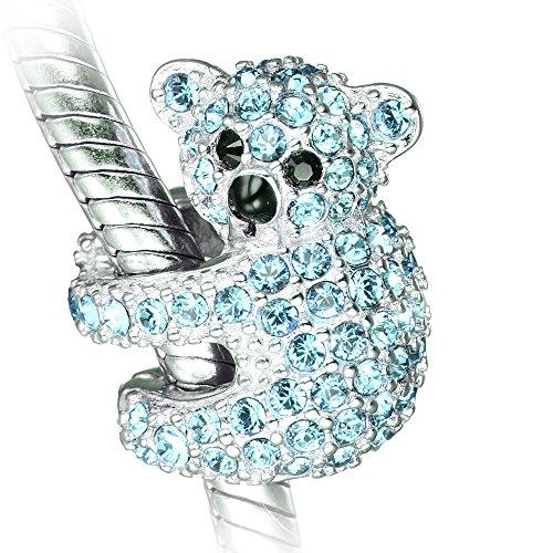 Koala Ours Charm - Breloque en argent sterling S925 pour bracelet Pandora charm femme (Aqua)