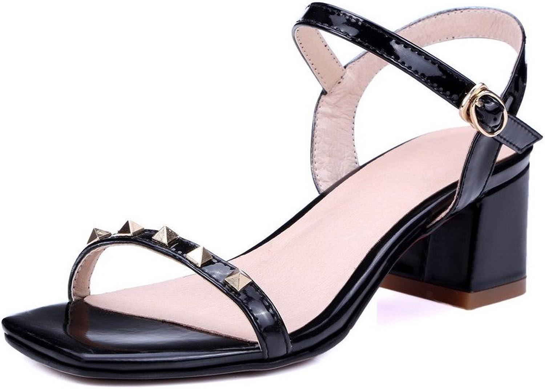 AllhqFashion Women's Patent Leather Open Toe Kitten-Heels Buckle Solid Sandals