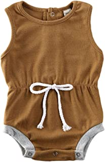 GWJGOGO Newborn Unisex Baby Romper Sleeveless Solid Color Jumpauit Outfit One Piece Linen Bodysuit Overalls Clothes