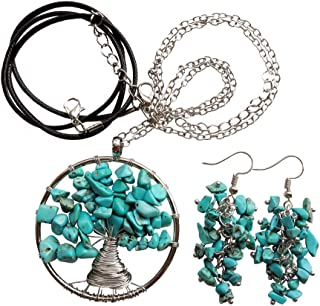 Gemgogo Tree of Life Necklace and Earrings Women's Fashion Chakra Crystals and Healing Stones Jewelry Sets(2 Chains + 1 Pe...