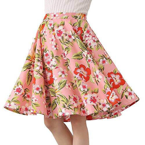 FiftiesChic Falda de círculo completo de algodón 100% con lunares florales de los años 50 inspirado en Rockabilly Rosa Rosa Tropical Floral 40