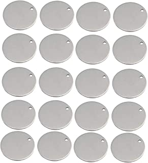 SGerste Metal Round Circle Blank Coin Engraving Stamping Charms Tag Pendant Necklace Bracelet Pendants 8mm 20 Pieces