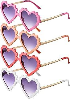 4 Pairs Kids Heart Shaped Sunglasses Cute Outdoor Beach Eyewear Sunglasses for 3-13 Year Toddler Children Girl Boy Party P...