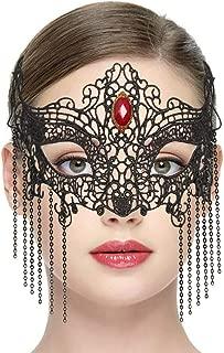 LUCKSTAR Gothic Style Half-face Black Lace Mask Halloween Masquerade