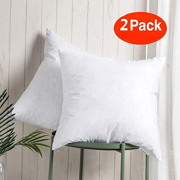 100 Cotton Throw Pillow Insert Sham Stuffer Filled With Down And Feather For Firm Sleepers Square Decorative Couch Pillows Used For Sofa And Bed Set Of 2 White 20x20 Throw Pillows