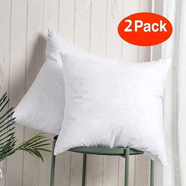 100 棉抱枕插件假填充器,填充羽绒和羽毛,用于结实的枕木,方形装饰沙发枕,用于沙发和床上,一套 2 个白色 20x20 抱枕