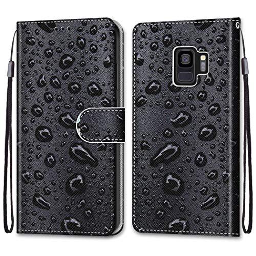 Nadoli Bunt Leder Hülle für Samsung Galaxy S9,Cool Lustig Tier Blumen Schmetterling Entwurf Magnetverschluss Lanyard Flip Cover Brieftasche Schutzhülle mit Kartenfächern