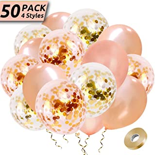 HEHUI Rose Gold Confetti Balloons, 50 Pack Latex Party Balloons with Confetti Dots 4 Styles Balloons Decorations for Wedding, Birthday Party, Bridal Shower, Graduation, Engagement