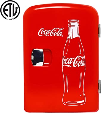 Coca-Cola Classic Portable 6 Can Thermoelectric Mini Fridge Cooler/Warmer, 4 L/4.2 Quarts Capacity, 12V DC/110V AC for home,