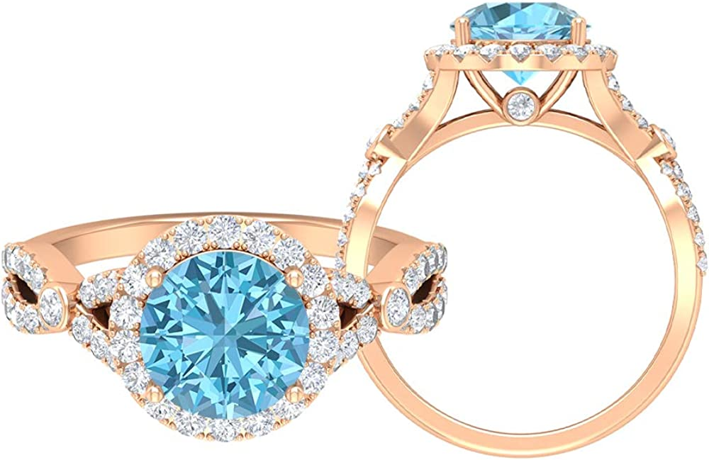 Solitaire Halo Engagement Ring 3.17 Excellence CT Gemstones Max 41% OFF Round D-VSSI