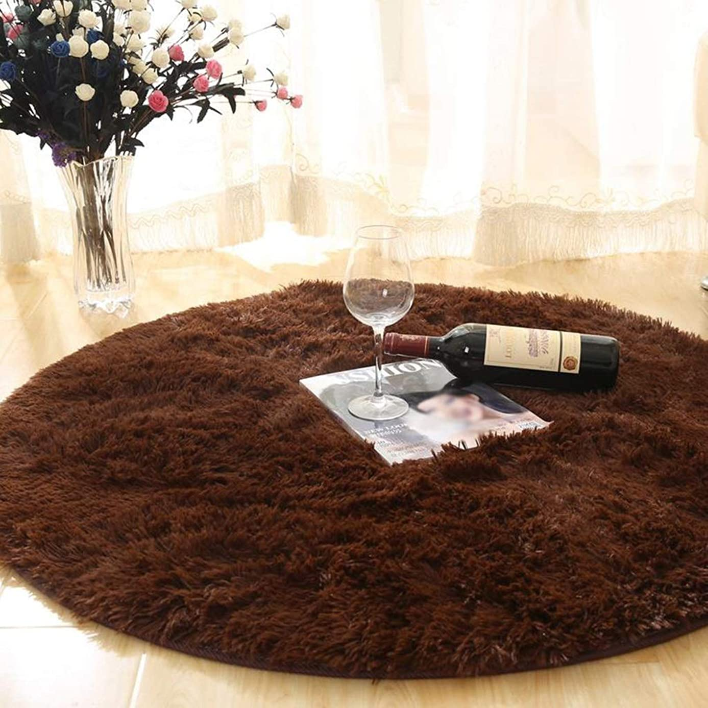 Household Bedroom Living Room Carpet Non Slip Washable Children's Crawling Blanket Round Plush Chair Mat -\# (Color : Coffee, Size : 160cm)