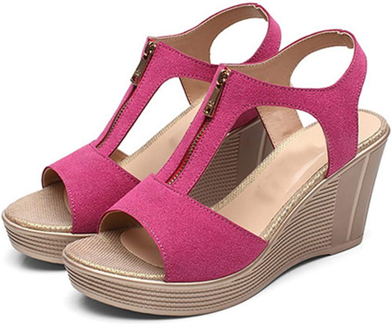 Women's Open Toe Wedge Platform High Heels Slope Sandals Front Zipper Casual Summer Sandal
