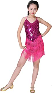 Magogo Girls Dancing Dresses, Sequin Tassel Skirt Latin Dance Costumes for Kids, Salsa Ballet Tango Rumba Ballroom Dancewear