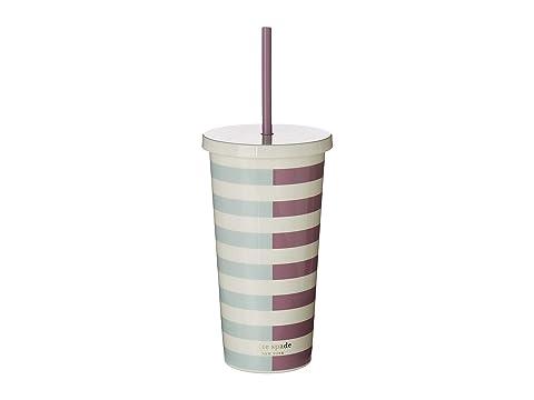 Kate Spade New York Two-Tone Stripes Tumbler with Straw