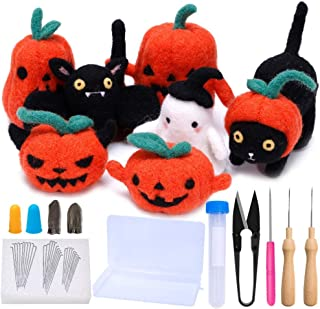 Mayboos Halloween Needle Felting Kit for Beginners, Needle Felting Starter Kit with 7 Pcs Photo Instructions, Make Pumpkin, Black Cat, Black Bat and Halloween Ghost, Felting Supplies for Halloween