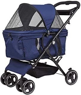 Pet stroller Dog Cart, Foldable 4-Wheel Pet Stroller. Pet Supplies,Lightweight and Portable Pet Stroller, for Small and Medium Pets (Color : Blue)
