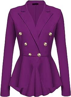 Women's Peplum Blazer One Button Crop Frill Ruffle Hem High Low Work Blazer