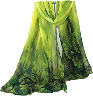"""Long Wide Rectangle Pine Forest Kelly Lime Dark Green Ombre Feather Leaves Sheer Scarf Women's Scarves Hijab Shawl Pashmina Headband Bandana Sarong 29"""" wide x 64"""" inches long"""