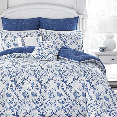 Laura Ashley Home Parure de lit de Luxe Ultra Douce, Toutes Saisons, 7 pièces, Design élégant et délicat pour la décoration de la Maison, Bleu, King Size