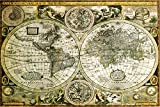 World Map Hisorical Antique Vintage Old Style Decorative Educational Poster Print 24x36