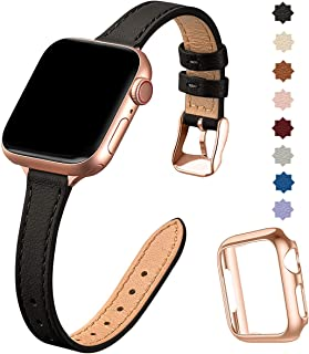 STIROLL Slim Leather Bands Compatible with Apple Watch Band 38mm 40mm 42mm 44mm, Top Grain Leather Watch Thin Wristband for iWatch Series 5/4/3/2/1 (Black with Rose Gold, 42mm/44mm)