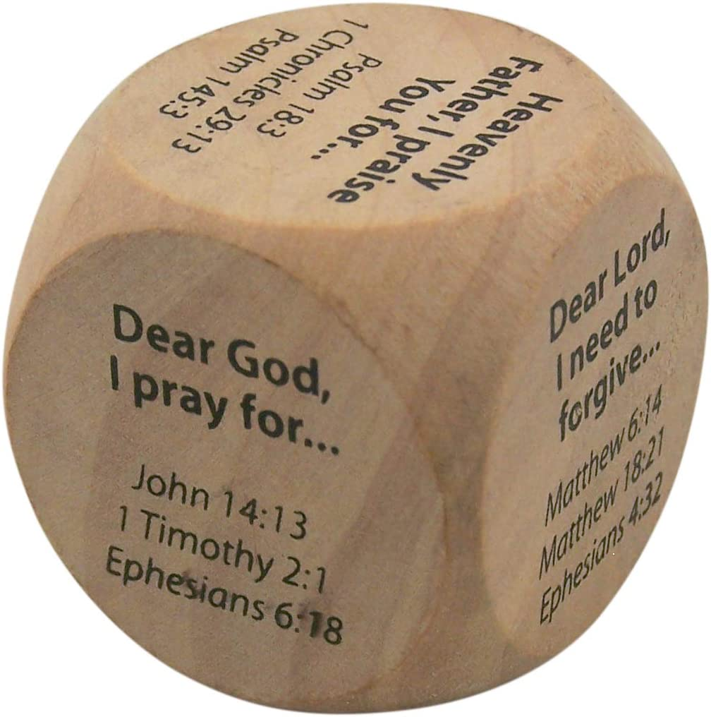 Wooden Religious Prayer Starter Cube for Kids, 1 1/4 Inch