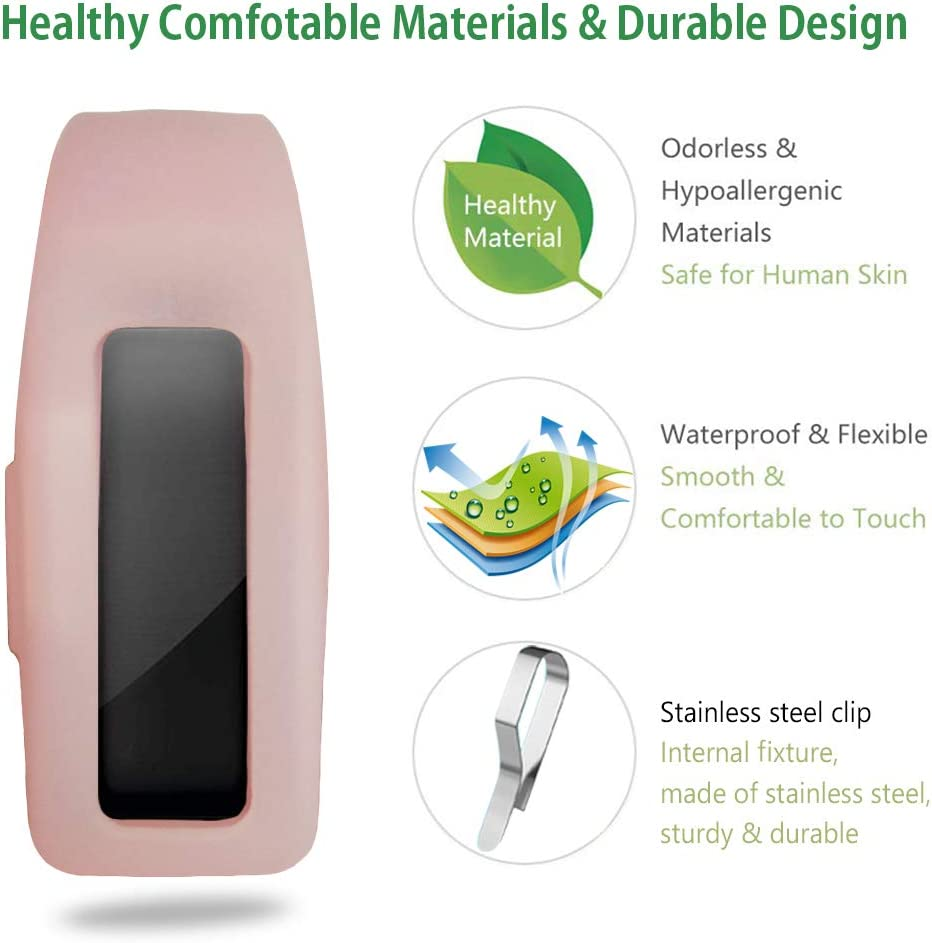 Made of Soft Comfortable Silicone(Transparent Pink) HQzon Compatible Clip Replacement for Fitbit Inspire//Inspire HR Fitness Tracker