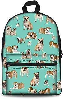 HUGS IDEA Animals Printing Backpack Bulldog Child School Bags Travel Sport Laptop Daypack