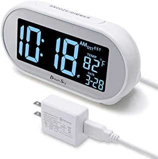 DreamSky Auto Time Set Alarm Clock with Snooze and Dimmer, Charging Station/Phone Charger with Dual USB Port .Auto DST Setting, 4 Time Zone Optional, Battery Backup.