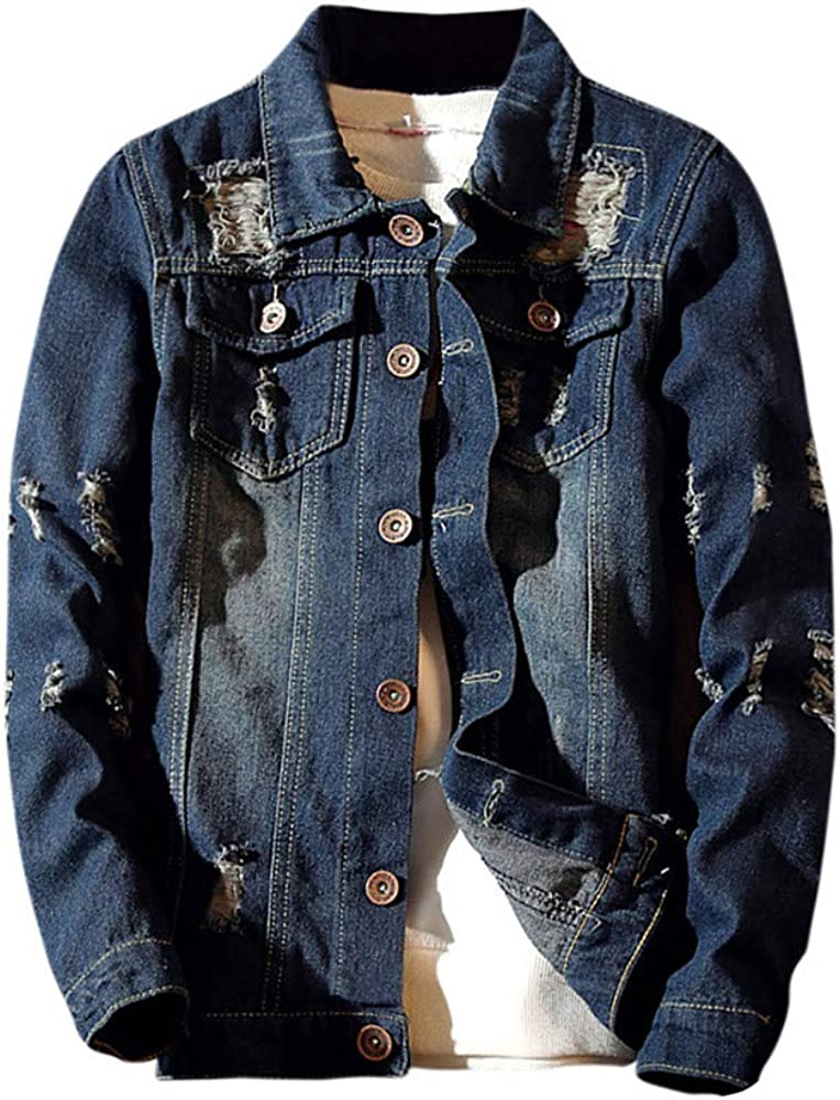 WUAI 2020 New Mens Jean Denim Jacket Casual Vintage Distressed Ripped Holes Fashion Slim Fit Tops